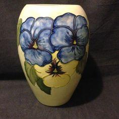 "oorcroft First Quality 7"" Green glaze Pansy vase circa 1960's picclick.com"