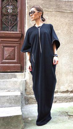 New Gorgeous Black Spring Asymmetric ZIPPER Dress /Extravagant Caftan  Zipper Pocket   Loose and free design ,extravagant still elegant .... romantic,