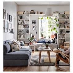 Home Library Rooms, Home Library Design, Cozy Home Library, Small Home Libraries, Library Bedroom, Bookshelves In Living Room, Ikea Living Room, Apartment Bookshelves, Living Rooms
