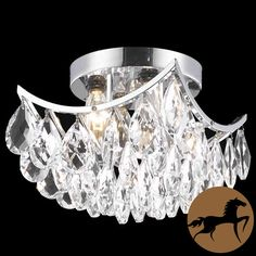 Beautify your living space with this striking four-light chrome crystal chandelier. Designed for indoor use, this fixture has a shiny attractive base and hanging crystals that make it sparkle. It is easy to install and is perfect for formal decors.