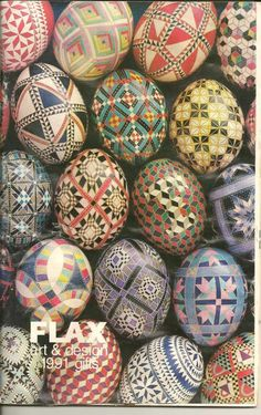 Beautiful hand-painted patterns on Easter eggs.