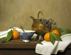 Justi Wood, Still life with scuttle grapes and mandarins