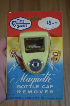 Vintage Time Savers Magnetic Bottle Cap Remover Opener Yellow Turner Seymour NOS