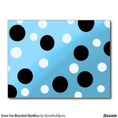 Dots On Blended SkyBlue Postcard