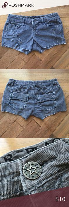 Grey corduroy V-star black shorts Grey corduroy distressed V-star (vanilla star) shorts. 98% cotton and 2% spandex. Size 3 (juniors). Vanilla Star Shorts