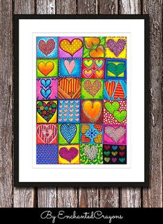 Items similar to Original Drawing - Romantic Heart Tiles - up to Art Print, Wall Decor, Illustration on Etsy Art Auction Projects, Art Projects, Group Projects, Auction Ideas, Inspiration Artistique, Group Art, Collaborative Art, Art Journal Inspiration, Heart Art