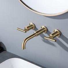 2-Handle Brushed Gold Bathroom Sink Faucet - 12.36*3*8.3 - Overstock - 34380088