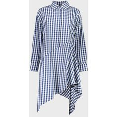 Assymetric Shirt Dress (11.823.260 VND) ❤ liked on Polyvore featuring dresses, long shirt dress, blue collared dress, t-shirt dresses, blue pattern dress and print dresses