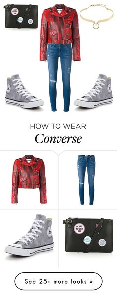 """Suggested #2"" by acciona-lumoson on Polyvore featuring Frame Denim, Moschino, Converse, Topshop and Alexis Bittar"