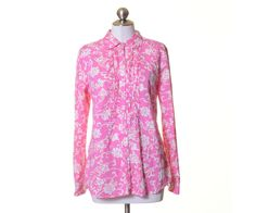 Charter Club Pink White Floral Print Cotton Pleated Button Shirt Size 12 #CharterClub #Blouse #Casual