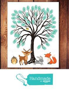 Woodland Creatures Baby Shower Guest Book for Thumbprints, Woodland Nursery, Thumbprint Tree, Fine Art Print, 11x14 or 13x19 from Melissa Wynne Designs https://www.amazon.com/dp/B01FWI7Z52/ref=hnd_sw_r_pi_dp_qCevxbKJM1H37 #handmadeatamazon