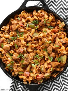 Creamy Chicken Fajita Pasta is a fast and delicious weeknight meal the whole family will love. BudgetBytes.com