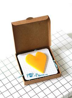 big yellow plexiglas heart brooch to make you happy by pop-a-porter