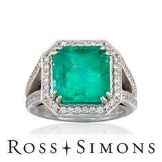 C.1995 Vintage 8.40ct Emerald, .85ct t.w. Diamond Ring