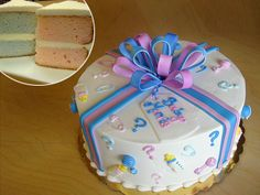 Gender reveal cake, too cute!