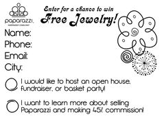 Paparazzi Jewelry Consultant, enter to win free jewelry form