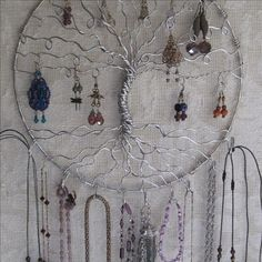 Jewelry Tree Copper Tree of life Wall Hanging Jewelry Holder