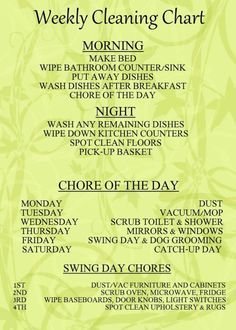 Since I am the maid at my house, perhaps I should give myself a list like this...