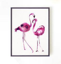 Flamingo #2 watercolor art Flamingo print Bird print Wall Art Wall Decor Art Home Decor Wall Hanging Tropical print Animal painting Fuchsia