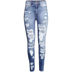 H&M Skinny High Jeans ($29) ❤ liked on Polyvore featuring jeans, pants, bottoms, trousers, light denim blue, h&m skinny jeans, highwaisted jeans, h&m, super high waisted skinny jeans and high-waisted skinny jeans