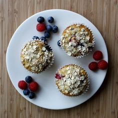 Fourth of July Recipe: Blueberry and Raspberry Oatmeal Muffins