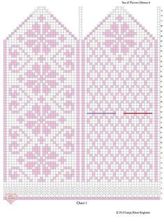 Knitted Mittens Pattern, Knit Mittens, Knitting Socks, Baby Knitting, Crochet Chart, Filet Crochet, Knitting Charts, Knitting Patterns Free, Fair Isle Pullover