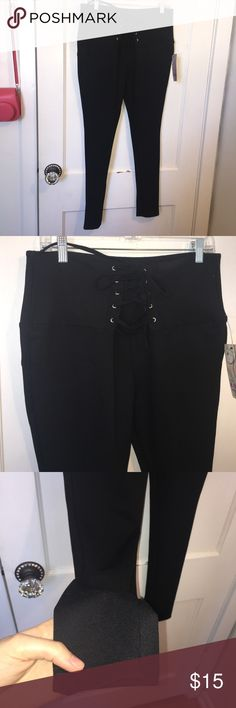 Corset black pants High waist corset design black stretchy pants size extra large juniors new with tags Pants Leggings