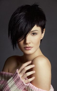 "Thinking about shedding some length on your next hairstyle try this sexy short ""bob/pixie"" layered fringe with shorter hair towards the back of your neck."