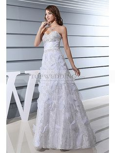 Strapless A Line Lace and Satin Prom Dress with Beading
