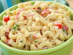 Creamy pasta salad - i shall eat Side Salad Recipes, Pasta Salad Recipes, Recetas Salvadorenas, Salvadorian Food, Creamy Pasta Salads, Kids Meal Plan, Cuban Recipes, Cooking Recipes, Healthy Recipes