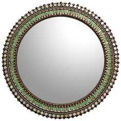 24'' Jade Bronze Mirror by Angie Heinrich: Art Glass Mirror available at www.artfulhome.com