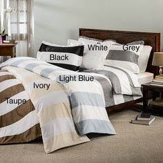 Drift off to paradise each night with this cabana inspired striped duvet cover. The set is available in six subtle, but sophisticated colors that can be coordinated with a variety of bedding collections.