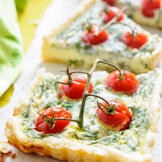 Cherry Tomato Tart - beautiful and impressive appetizer or main course if served with salad.