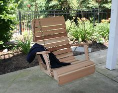Red Cedar Royal Highback Porch Swing  2ft. Chair (pictured, unfinished)  WANT!!!