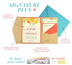 Accessorize your standard-sized 5x7 invitation with our new Signature Plus Pocket and A+ Envelopes! Large enough for any brand invitation.  We have your colors! Shop today!