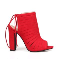 Mark and Maddux Jonas04 Peep-toe High Heel Sandals in Red *** You can find more details by visiting the image link.