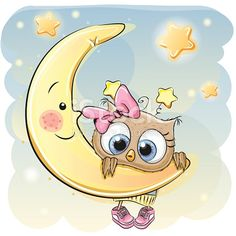 Find Cute Cartoon Owl Girl On Moon stock images in HD and millions of other royalty-free stock photos, illustrations and vectors in the Shutterstock collection. Thousands of new, high-quality pictures added every day. Owl Cartoon, Cute Cartoon, Moon Vector, Owl Pictures, Belly Painting, Owl Art, Baby Owls, Painting For Kids, Cute Drawings