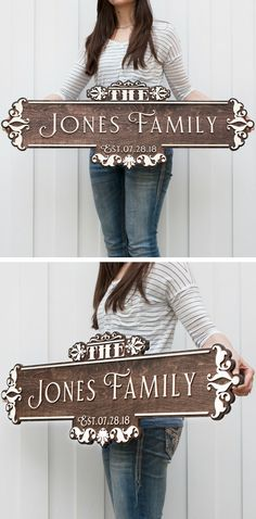 The letters on this sign are 3D not painted like other signs but cut out of wood and then mounted to the background giving the letters a 3D effect. They really stand out! #woodensign #board #sign #familynamesign #family #name