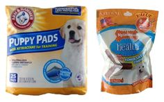 Arm and Hammer Puppy Pads with Attractant for Training (25 Pads) and Nylabone Daily Health Long Lasting Chews (Chicken Flavor) (8 Small Chews or Break Apart for 24 Mini Chews) * Don't get left behind, see this great cat product : Cat Repellent and Training Aid