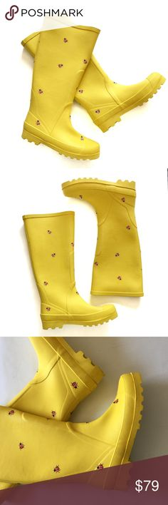 J. Crew yellow rubber ladybug rain boots 6 Adorable rain boots in great condition. Soles and outer shaft show a little wear. Please see all pics. Lined interior. No box. Rare! Bundle to save 25%! J. Crew Shoes Winter & Rain Boots