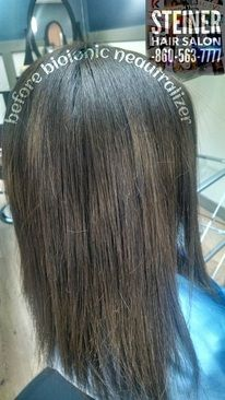 BEFORE Picture OF BioIonic HAIR STRAIGHTENING Steiner HAIR SALON Rocky Hill CT for Appointment CALL 860-563-7777