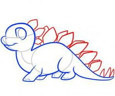 Dinosaurs - How to Draw a Stegosaurus for Kids