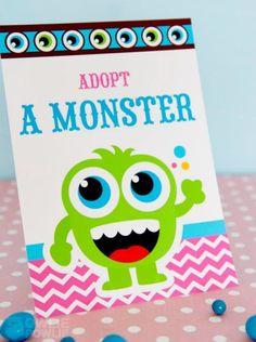 Girl MONSTER BASH BABY SHOWER adopt a monster sign