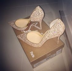 Love these Christian louboutin with gold trim and glitter