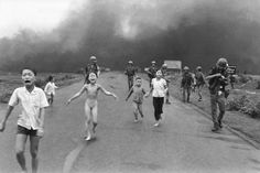 Nick Ut (b.1951) ─ The Terror of War, 1972, Trảng Bàng, Vietnam ● Children running down a road near Trảng Bàng, Vietnam, after a napalm bomb was dropped on the village of Trảng Bàng by a plane of the Vietnam Air Force. The village was suspected by United States Army forces of being a Viet Cong stronghold. Kim Phúc (aged 9; middle left) survived by tearing off her burning clothes. ↪https://en.wikipedia.org/wiki/File:TrangBang.jpg