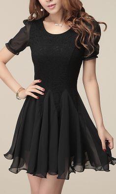 Korean lace Chiffon dress Black