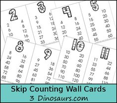 Free skip counting posters 2s 10s for homeschool math k 6th grade skip counting wall cards 2 through 12 skip counting 12 times 3dinosaurs sciox Image collections