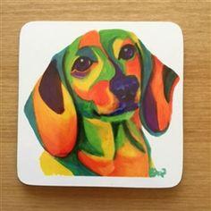 dachshund coasters set 6 colorful dachshunds