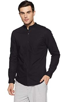 Buy Dennis Lingo Men's Plain Slim Fit Casual Shirt (C201_Blue_Small) at Amazon.in