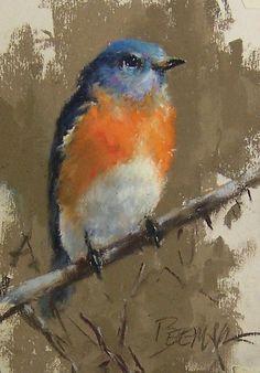 "Eastern Bluebird by Mike Beeman Pastel ~ 7"" x 5"""